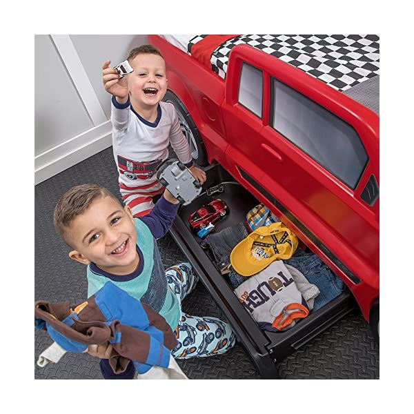 Step2 Turbocharged Twin Truck Kids Bed, Red 3