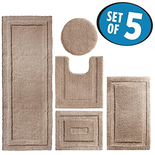 mDesign Contour, Toilet Seat Cover, and Bathroom Mat Combo Pack - Set of 5, Linen
