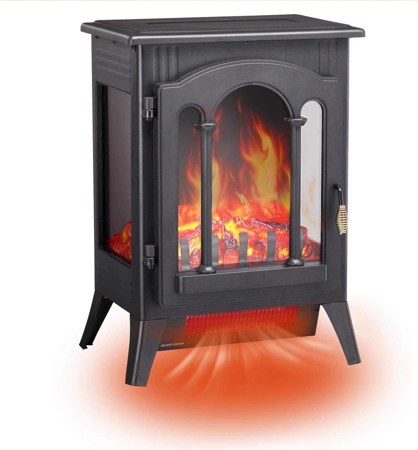 """RMYHOME Infrared Electric Fireplace Stove, 16.3"""" Freestanding Fireplace Heater with Adjustable Brightness and Heating Mode, Realistic Flame Effects, Overheating Safety Protection System"""