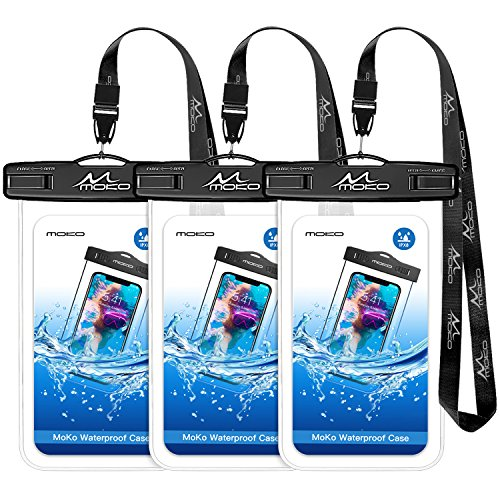 MoKo Waterproof Phone Pouch [3 Pack], Transparent Phone Case Dry Bag with Lanyard Compatible with iPhone X/Xs/Xr//Xs Max, 8/7/6s Plus, Samsung Galaxy S9/S8 Plus, S7 Edge, Note 9/8 / More, ()