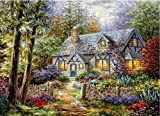 (US) Queenlink Full Pasted DIY Square Diamond Embroidery Paintings Rhinestone Cross Stitch Country House