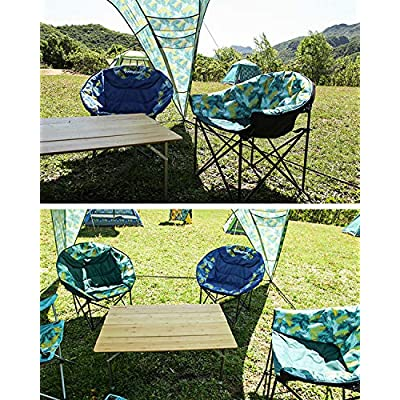 KingCamp Moon Saucer Leisure Heavy Duty Steel Camping Chair Padded Seat (Grey with Cup Holder and Cooler Bag) (Green) : Sports & Outdoors