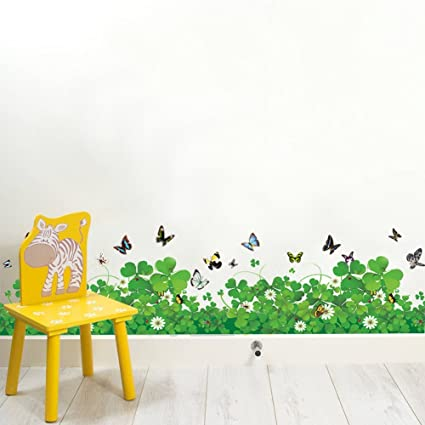 Amazon.com: Amaom Removable Beautiful Flowers Clovers Green Leaves ...