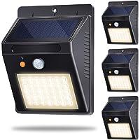 Luces Solares, Lámparas Solares Exterior con Sensor de Movimiento 35LED 500lm 120°Sensor Luz Solar Jardín IP65 con 3 Modos Inteligentes para Jardín, Garaje, Camino, Patio (4 Pack, Blanco Cálido 3000K)