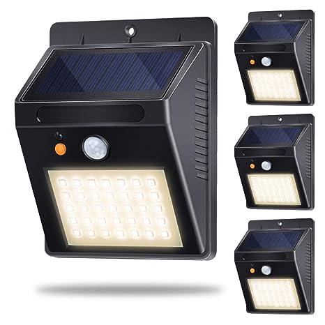 Luces Solares, Lámparas Solares Exterior con Sensor de Movimiento 35LED 500lm 120°Sensor Luz