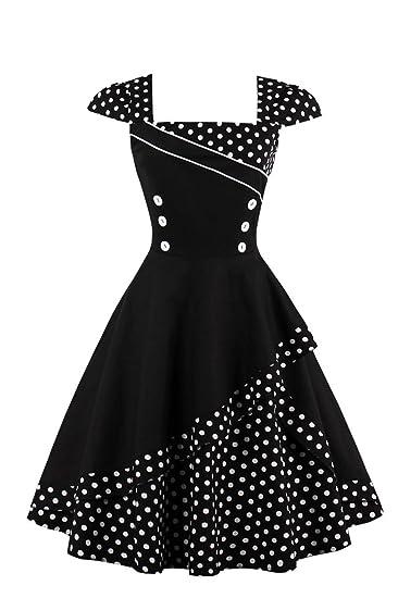 0336b363833d Axoe Womens 1950s Audrey Hepburn Cap Sleeve Polka Dots Retro Vintage Swing  Dresses  Amazon.co.uk  Clothing