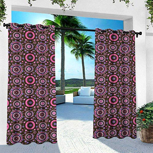 - Hengshu Floral, Outdoor Curtain for Patio,Outdoor Patio Curtains,Hippie Style Flourishing Flowers with Abstract Colorful Circles Pattern, W96 x L108 Inch, Chocolate Pink Purple