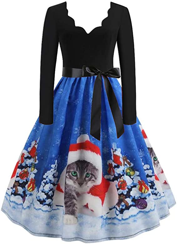 Vestido De Gasa, Manga Larga Vestido Acampanado Vintage con ...