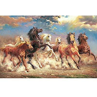 Voberry Puzzles for Adults 1000 Piece, Classic Jigsaw Puzzle Racing Horse DIY Wooden Puzzle Art Picture Modern Home Decor Wall Art Creative Unique Gift for The Elderly and Children (Multicolor): Toys & Games