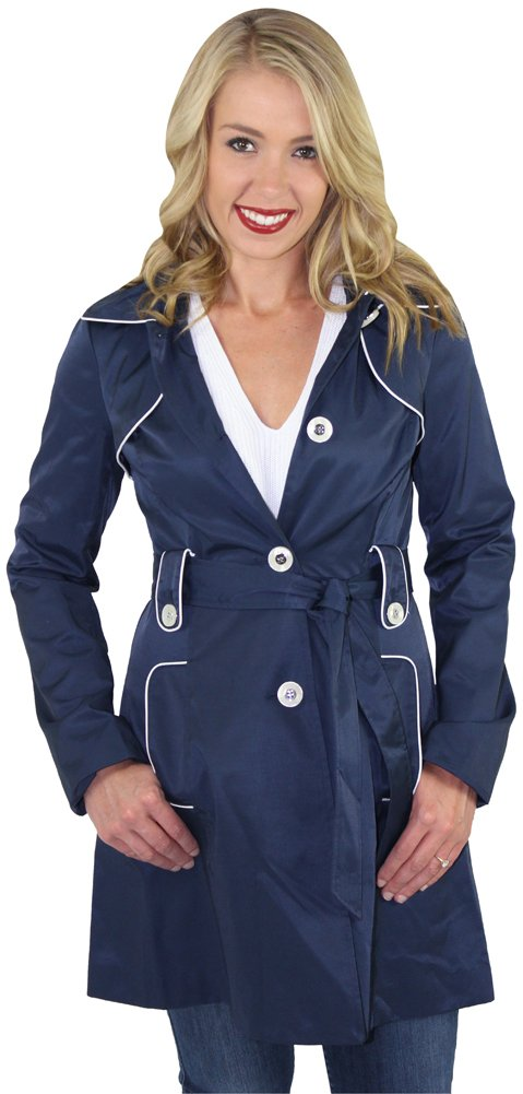 Jessica Simpson Women's Navy Trench Rain Coat Jacket Hooded Blue Size L