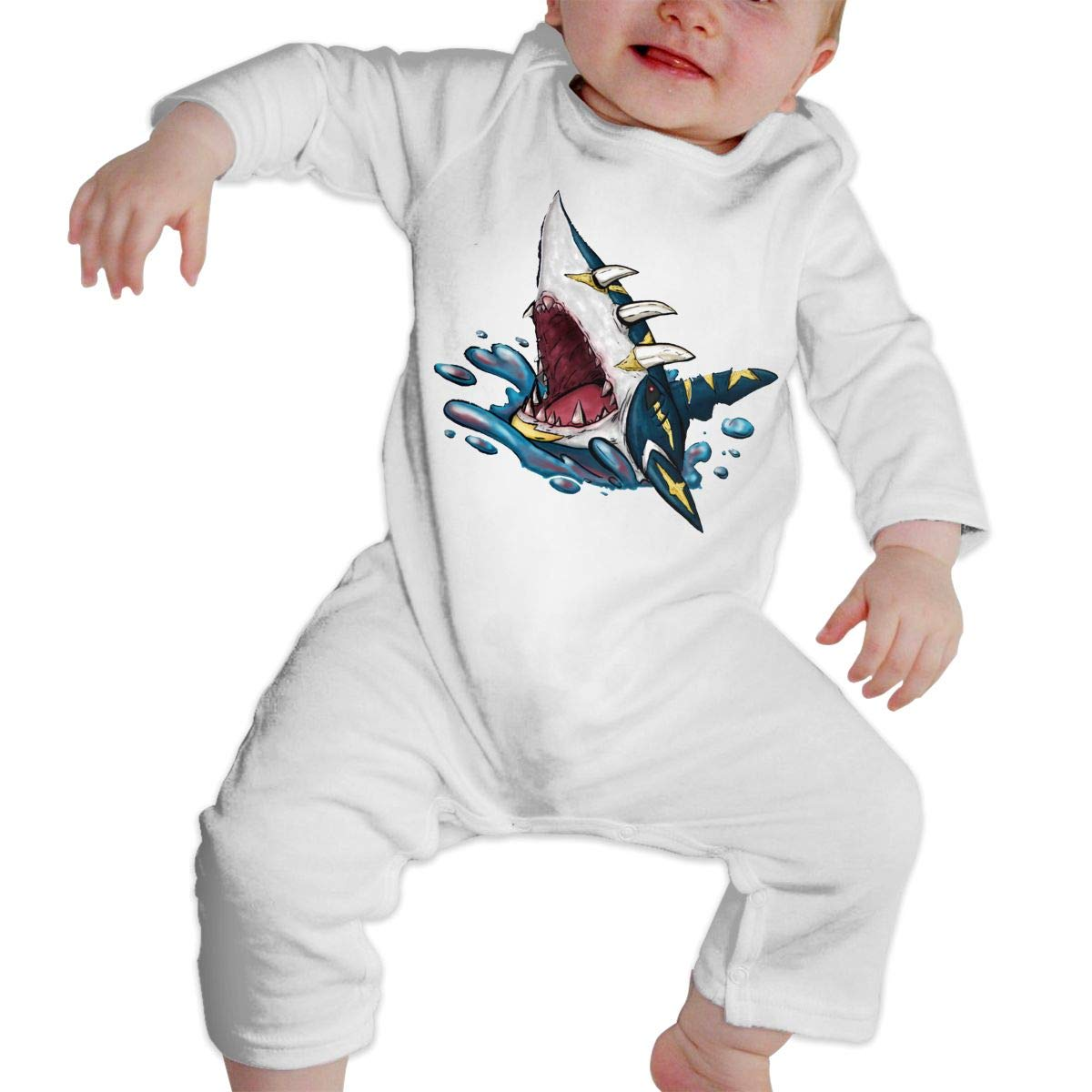 Girl\'s Boy\'s Mega Sharpedo Long Sleeve Romper Jumpsuit Bodysuit