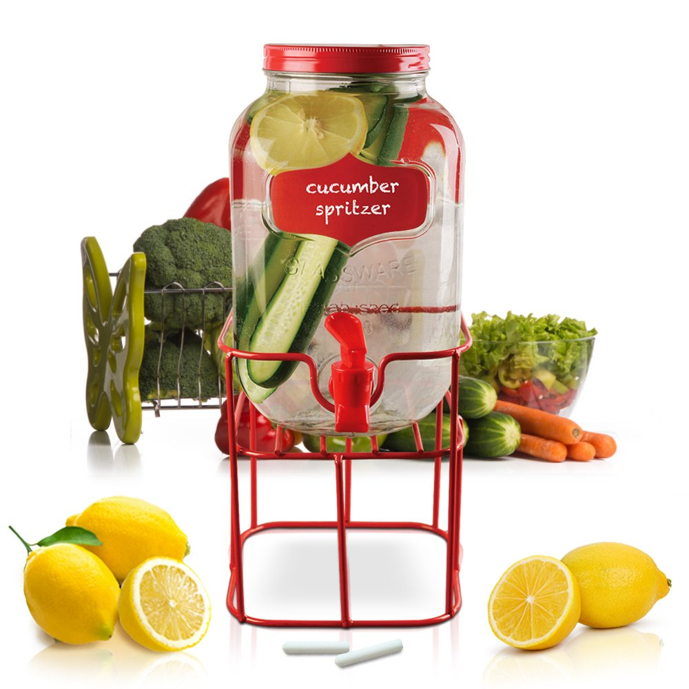 Glass Beverage Dispenser with Spigot and Stand - 1 Gallon Mason Jar with Red Metal Lid and Chalkboard Label to Personalize - Ideal for Buffet Station or Party Drinks on Any Indoor or Outdoor Events Emenest E1003