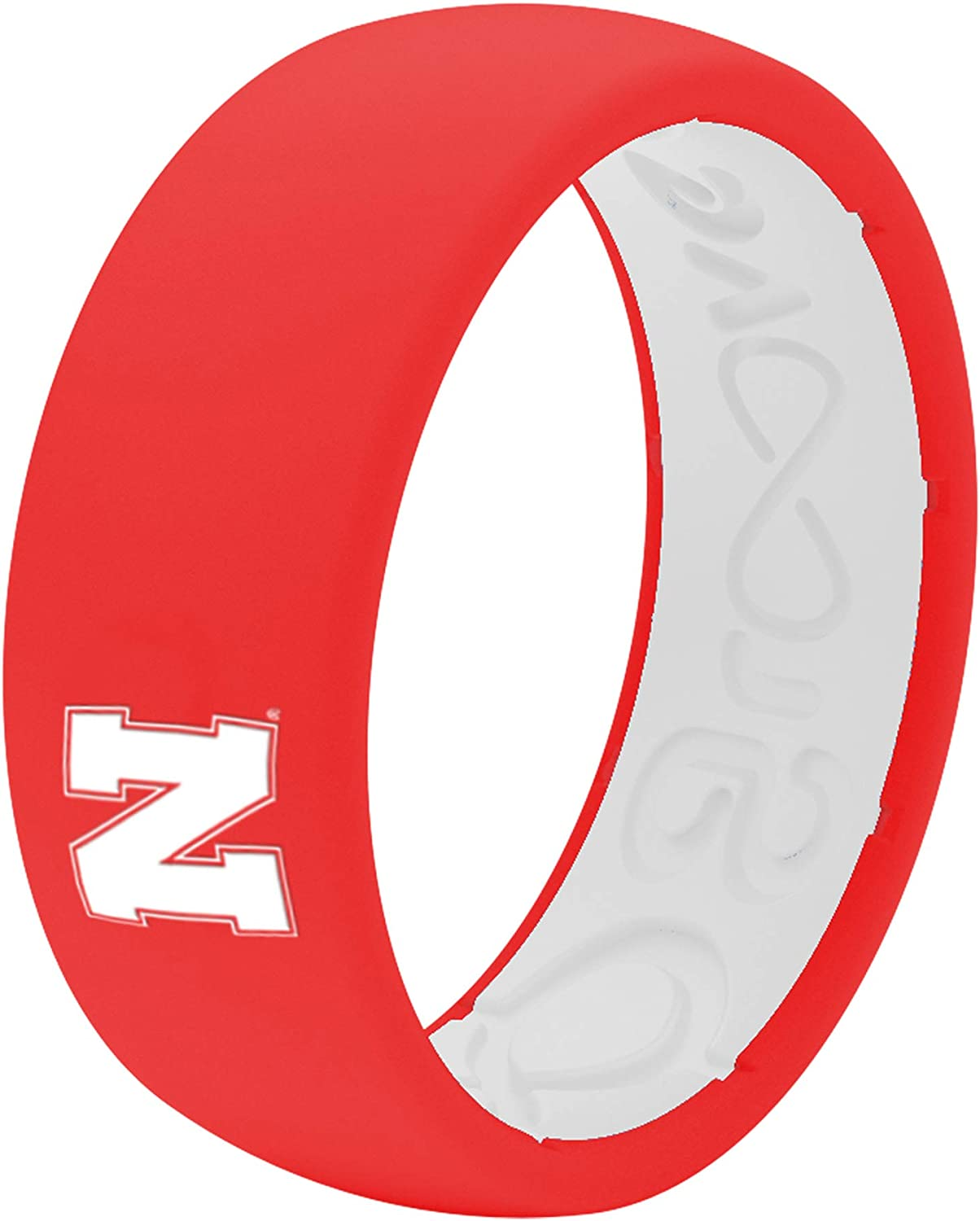 Comfort Fit Mens Ring Groove Life Collegiate Silicone Wedding Ring for Men Breathable Rubber Rings for Men Lifetime Coverage