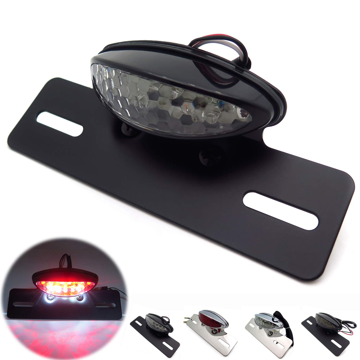 HONGK B01BI87X2A Motorcycle Black/ Clear LED/ Integrated/ Taillight/ License/ Plate/ Light/ Fender/ Eliminator/ Plate/ Compatible with Harley/ Honda/ Yamaha/ Suzuki/ Kawasaki