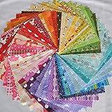 "Designer Fabric 5"" Squares Charm Pack Rainbow, 50 Different Pieces, 100% Cotton"