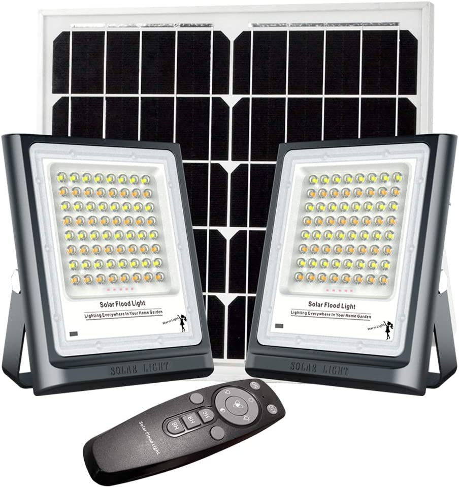 Solar Flood Light Outdoor Dual Head 2 Packs 64LEDs Floodlights Auto On/Off Dusk to Dawn with Remote Control Waterproof LED Solar Power Security Light for Yard Path Pool Shed Sign Barn Garden Garage