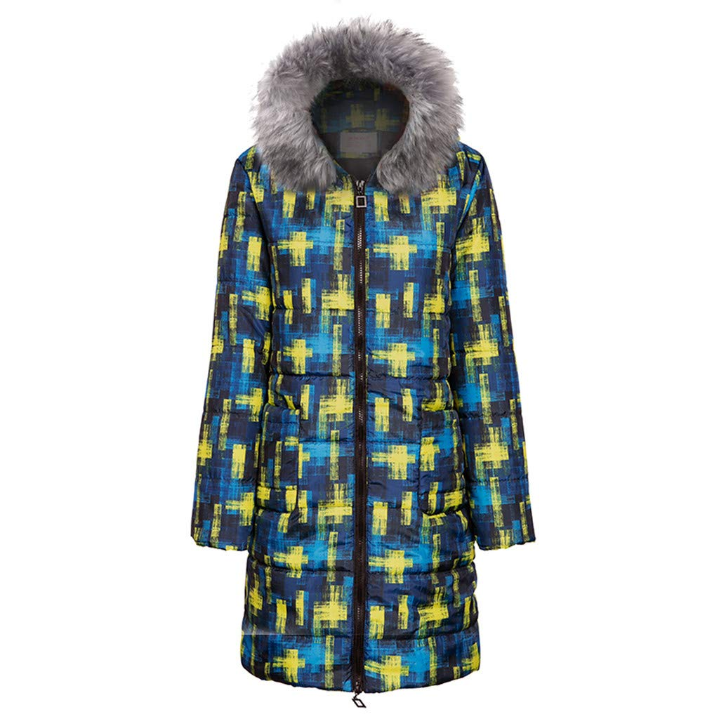 ZOMUSAR Women's Coat, Womens Winter Print Long Down Cotton Ladies Hooded Coat Quilted Jacket Outwear by ZOMUSAR