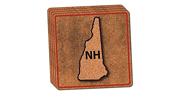 New Hampshire NH State Outline on Faded Blue Thin Cork Coaster Set of 4