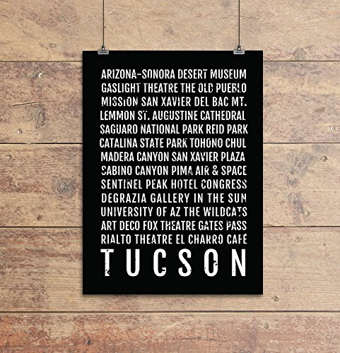 Tucson Print - Neighborhoods - Subway Sign Poster, Wall Art, Décor, Canvas, Word Map, Gift, Bus Scroll, Typography, Minimal, Custom, Personalized -