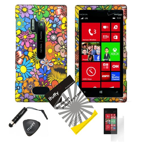 4 items Combo: ITUFFY (TM) LCD Screen Protector Film + Mini Stylus Pen + Case Opener + Pink Green Orange Blue Purple Spring Cartoon Color Daisy Flower Design Rubberized Snap on Hard Shell Cover Faceplate Skin Phone Case for Verizon Nokia Lumia 928 (Purple Rubberized Hard Faceplate)