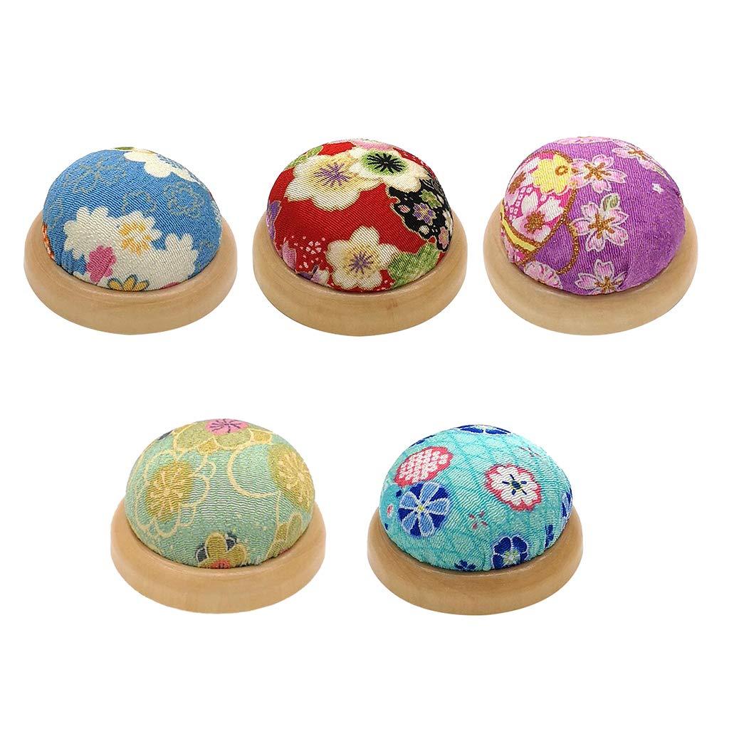 LoveinDIY Wooden Base Pin Needle Cushion Pincushion Cute Small Ball Pins Needles Pincushions Holder Safety for Sewing Girl Women Gift Craft Handmade Quilting A