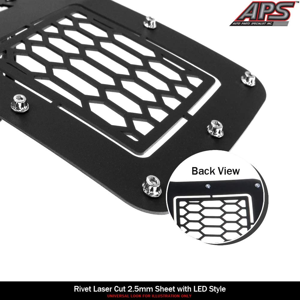 APS Compatible with 2009-2014 Ford F-150 Lower Bumper Stainless Steel Black Laser Cut Mesh with Stud Rivets /& LED Grille Insert FL6789L