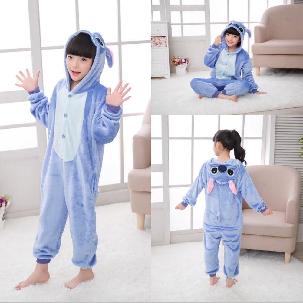 JunYito Pijama Pikachu Animale Disfraz Stitch Traje Ni/ños Ni/ña Adulto Mujer Invierno Kigurumi Unicornio Cosplay Halloween y Navidad