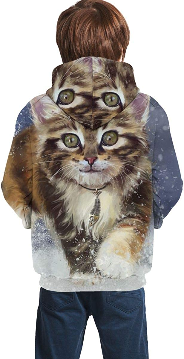 3D Print Pullover Hoodies with Pocket Cat Snow Soft Fleece Hooded Sweatshirt for Youth Teens Kids Boys Girls 7-20 Years