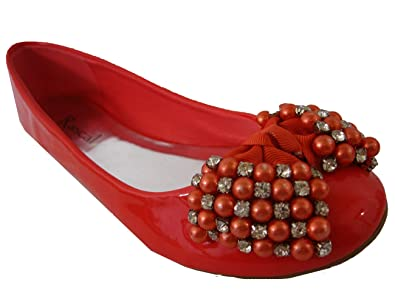 bcdec5ba81055 Rascal Lovely Jewelled Bow Patent Ballerina Pump  Amazon.co.uk  Shoes   Bags