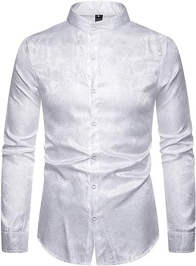 Allthemen - Camisa de vestir para hombre con estampado de cachemira y abuelo, manga larga, jacquard de seda, formal, casual, esmoquin Blanco blanco M: Amazon.es: Ropa y accesorios