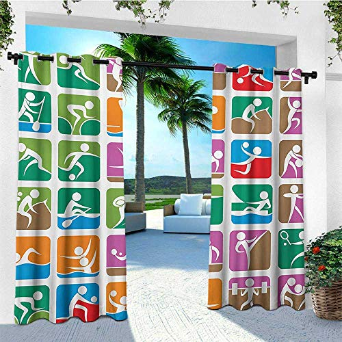 leinuoyi Olympics, Porch Curtains Outdoor Waterproof, Pictograms of The Summer Sports Sailing Wrestling Boxing Fencing Weightlifting, Balcony Curtains W72 x L96 Inch Green - Pin Wrestling Olympic