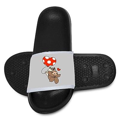 AolaZW Kids Puffin Pattern Beach Sandal Non-Slip Bath Slipper Black