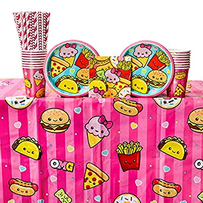 Junk Food Fun Birthday Party Supplies Pack for 16 Guests: Straws, Dessert Plates, Beverage Napkins, Table Cover, and Cups: Health & Personal Care