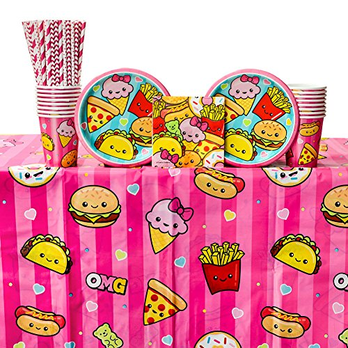 Junk Food Fun Birthday Party Supplies Pack for 16 Guests: Straws, Dessert Plates, Beverage Napkins, Table Cover, and Cups ()
