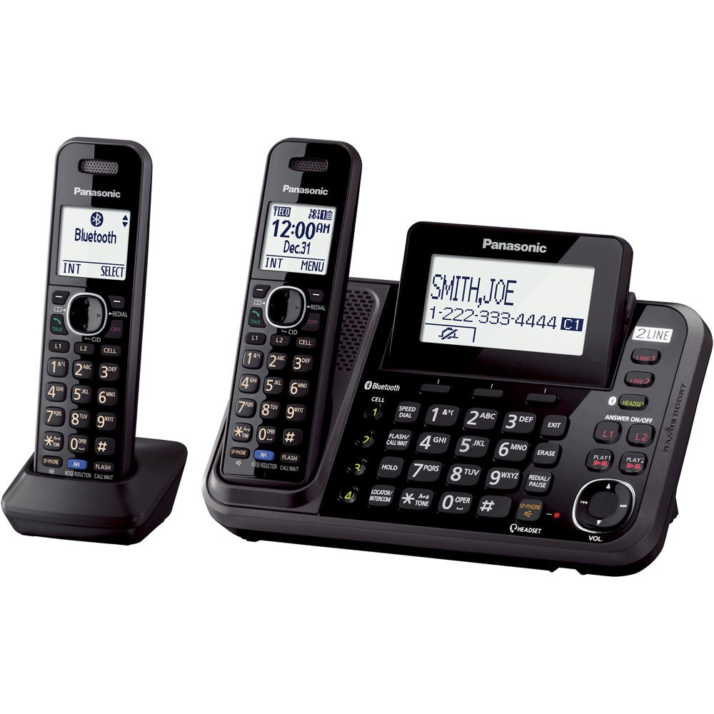panasonic bluetooth 2 handset dect 6 0 cordless wireless phone telephone 2 line 4923143157225 ebay. Black Bedroom Furniture Sets. Home Design Ideas