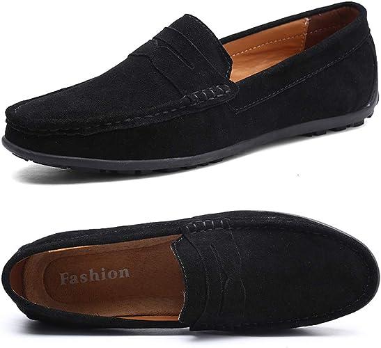 Men's Black Loafers Slip on Walking