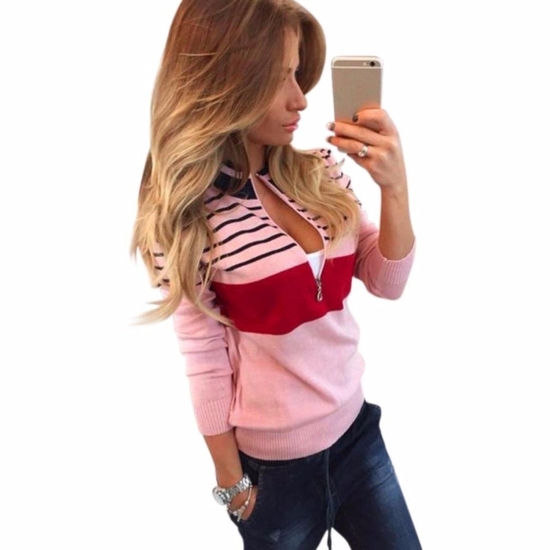 Jackets Coat, RIUDA Women's Sexy Spell Color Stripes Zipper Tops Shirt Blouse Coat Pink