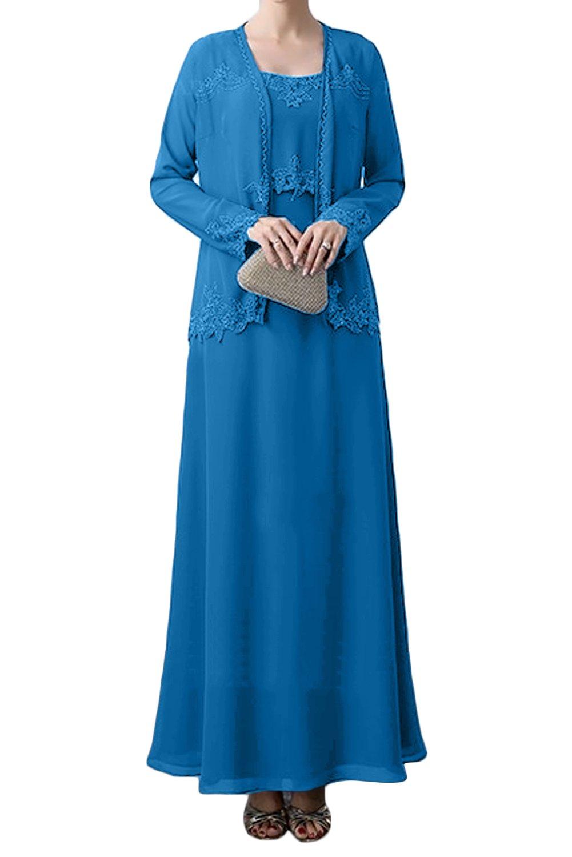 (ウィーン ブライド) Vienna Bride 披露宴用母親ドレス ロングドレス 結婚式母親用ドレス 新婦の母ドレス 長袖 ベスト付き Aライン ラウンドネック アップリケ ひだ カラードレス ブルー 紺 ブラック エレガント B07CZG7NYX 7|ブルー ブルー 7
