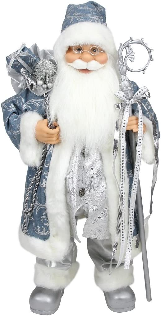 Northlight Ice Palace Standing Santa Claus in Blue Silver Holding A Staff and Bag Christmas Figure, 25