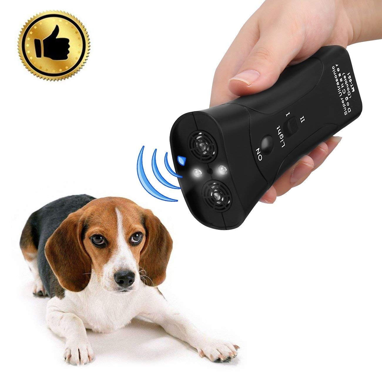Hqdz Handheld Dog Repellent & Trainer,Dual Channel Electronic Animal Repellent,LED Ultrasonic Dog Chaser Aggressive Attack Repeller Trainer Flashlight Effective Barking Stop Device,Waterproof Dog
