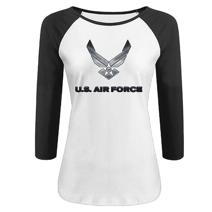 ad3aa1d84301 Amazon.com: IGiGT Raglan Shirt US Air Force 3/4 Sleeve Tees For Women  Black: Clothing