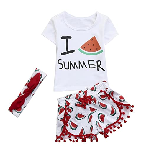 bae7695bfb41 Amazon.com  WARMSHOP Summer Clothes Set for Girls
