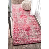 nuLOOM Pink Tanja Overdyed Medallion Runner, 2 Feet 8 Inches by 8 Feet