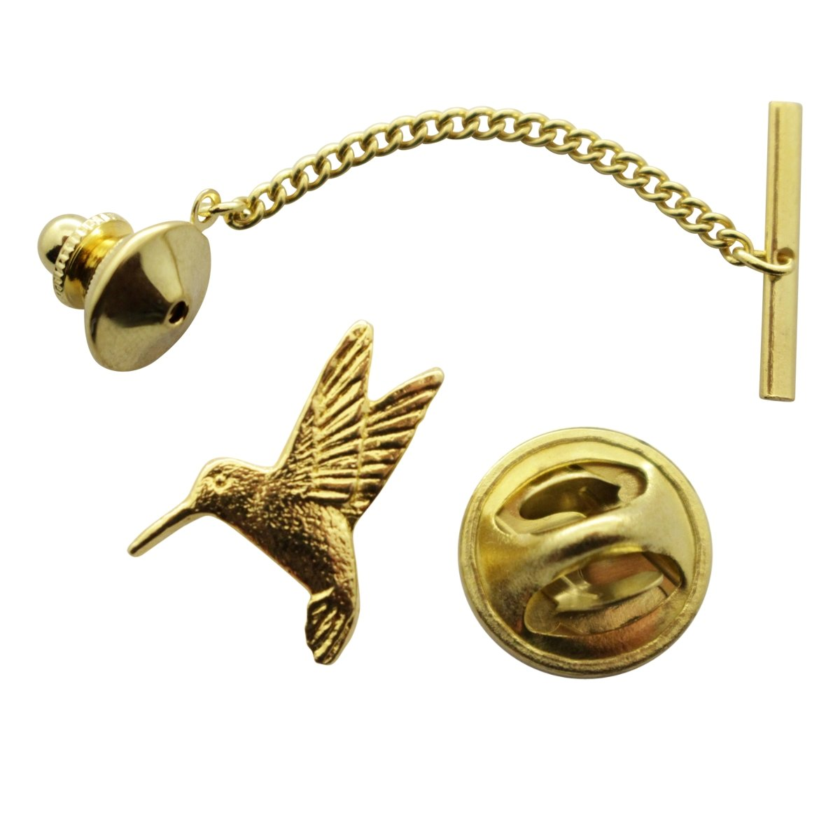 Hummingbird Tie Tack ~ 24K Gold ~ Tie Tack or Pin ~ Sarah's Treats & Treasures by Sarah's Treats & Treasures