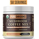 PureShrooms Mushroom Coffee with Lion's Mane, Reishi & Cordyceps. Immune System Booster, Focus, Stress Relief, Natural Energy (Adaptogenic Coffee, 100 Grams)