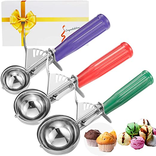 Include 3 Size: Small//Medium//Large Ice Cream Scoop Set Silver 3pcs Stainless Steel Cookie Scoop Set with Easy-to-Release Trigger for Mashed Foods