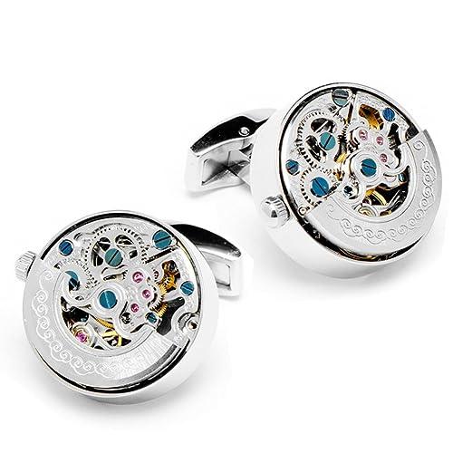 Acero Plata Cufflinks Color Inoxidable Movement Reloj Cinetico 6bI7vYfgy