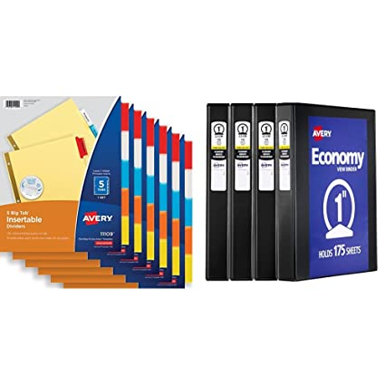 Avery 5-Tab Binder Dividers Insertable Multicolor Big Tabs 6 Sets 11109