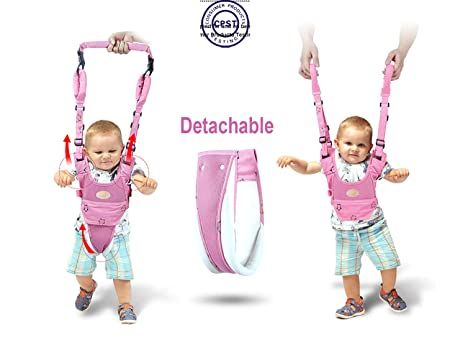 Baby Walker Toddler Walking Assistant Protective Belt,VIORKI Multifunction Breathable to Prevent Falling Learning Assistant Help The Baby Safely Stand up and Walking Pink