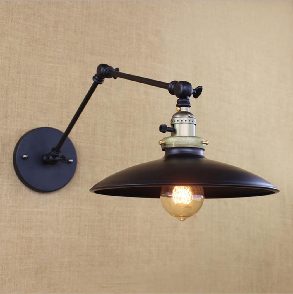 Applique Murale Industrielle Luminaire Rétro Vintage en Métal E27 Eclairage Abat-Jour Chambre Hôtel Salle à Manger Bar Salon Restaurant Noir, HMM XF Lighting
